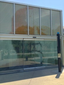 Mies' face is imprinted on the entrance doors of Rem Koolhaas' student refectory, Illinois Institute of Technology
