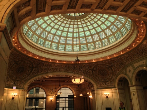 The largest Tiffany-glass dome in the world, Chicago Cultural Center