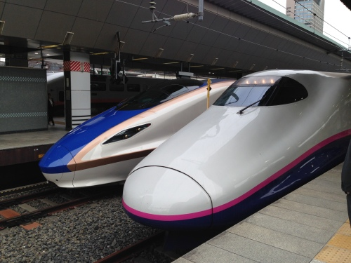 Shinkansen trains at Tokyo station
