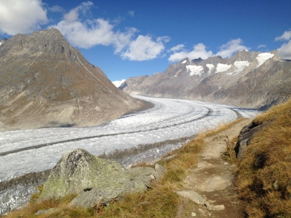 along the Aletsch glacier