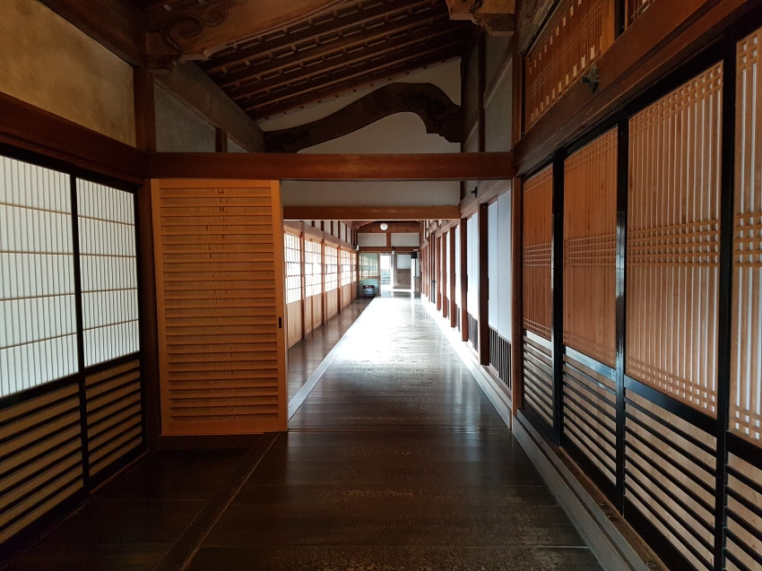 a temple corridor in Koyasan